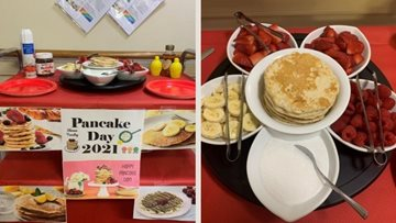 Wigan care home Residents tuck into delicious pancakes